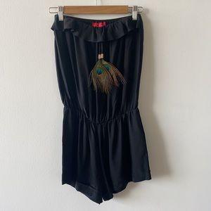 Karina Grimaldi peacock feather strapless romper